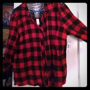 NoBo tie-front red flannel blouse with lace